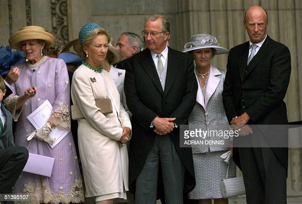 European royalty King Albert II of Belgium and Queen Paola and King Harald and Queen Sonja of Norway wait on the steps of St Paul's Cathedral after a...
