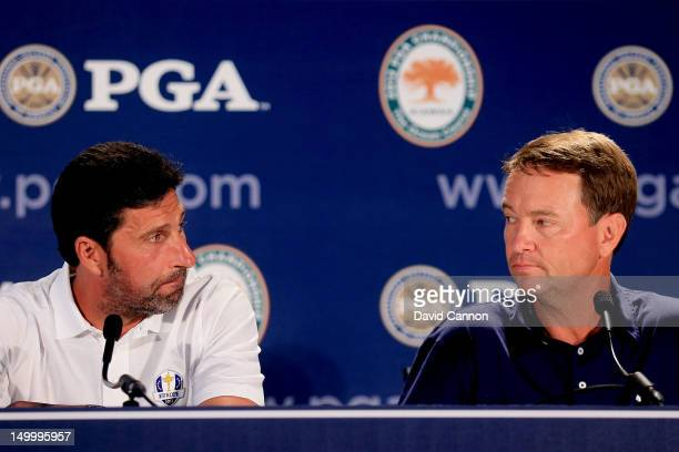 European Ryder Cup Captain Jose Maria Olazabal and US Ryder Cup Captain Davis Love III speak at a press conference during a practice round of the...