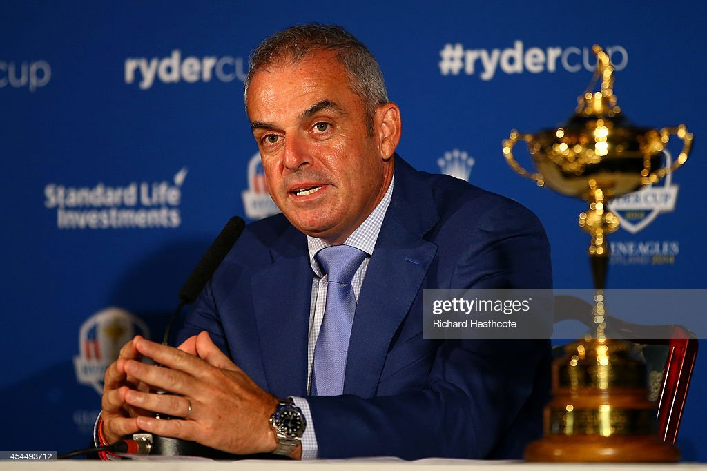 European Ryder Cup captain <a gi-track='captionPersonalityLinkClicked' href=/galleries/search?phrase=Paul+McGinley&family=editorial&specificpeople=178983 ng-click='$event.stopPropagation()'>Paul McGinley</a> of Ireland announces Ian Poulter of England, Stephen Gallacher of Scotland and Lee Westwood of England as his three captain's picks during a press conference at Wentworth on September 2, 2014 in Virginia Water, England.