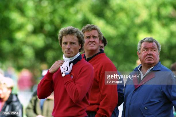 European Ryder Cup players Germany's Bernhard Langer left and Scotland's Colin Montgomerie