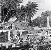 European settlers building the settlement of Jamestown in Virginia engraving United States 17th century Washington Library Of Congress