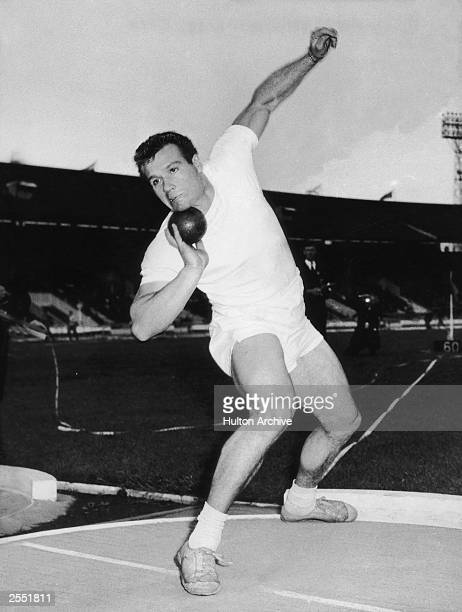 European shotput champion Arthur Rowe of Britain in action August 1960