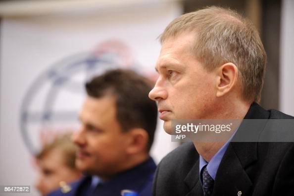 European Space Agency astronaut Frank De Winne of Belgium and Russian cosmonaut Roman Romanenko attend a press conference outside Moscow in Star City...