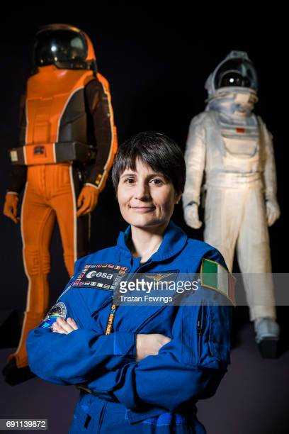 European Space Agency Astronaut Samantha Cristoforetti attend the press view of Into the Unknown A Journey Through Science Fiction exhibition at...