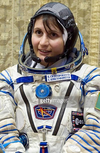 European Space Agency Italian astronaut Samantha Cristoforetti takes part in a preflight training session at the Gagarin Cosmonauts' Training Centre...