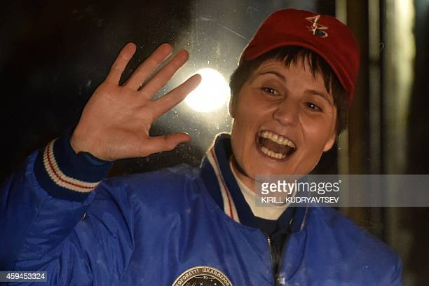 European Space Agency's Italian astronaut Samantha Cristoforetti attends a sendingoff ceremony in the Russianleased Baikonur cosmodrome on November...