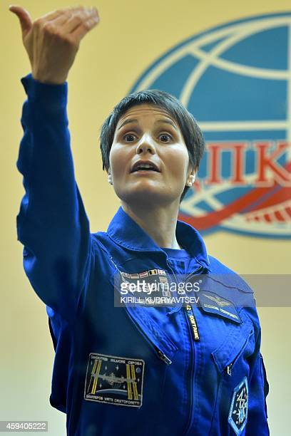 European Space Agency's Italian astronaut Samantha Cristoforetti gestures during the pressconference on the Russianleased Baikonur cosmodrome on...