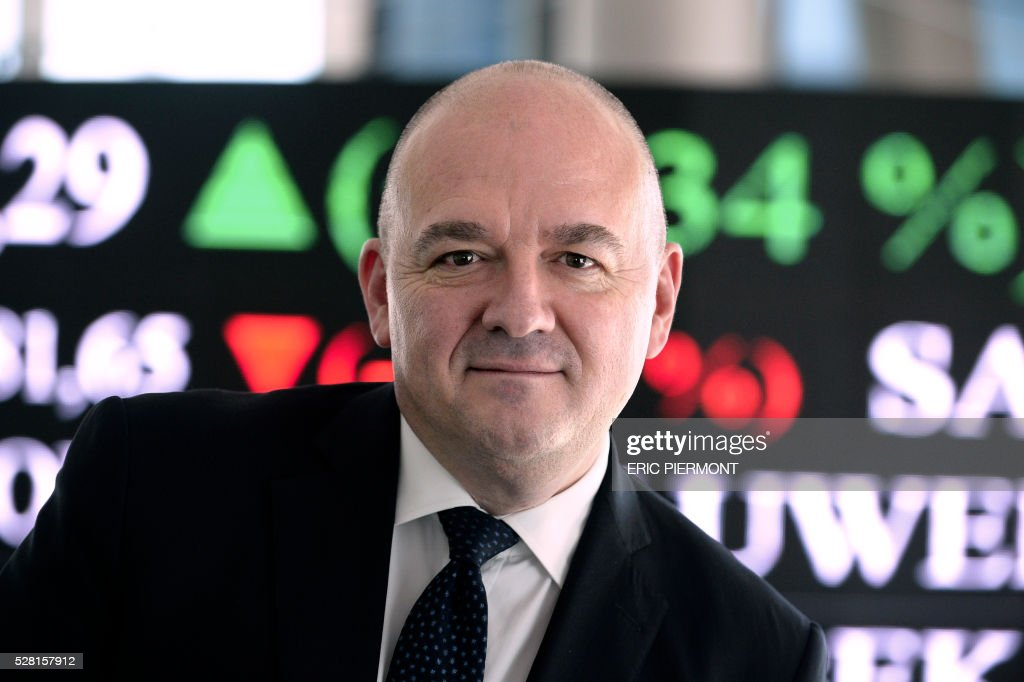 European stock market operator Euronext chief executive officer Stephane Boujnah poses at the Euronext headquarters in La Defense business district near Paris on May 4, 2016. / AFP / ERIC
