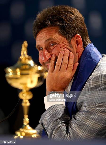 European team captain Jose Maria Olazabal speaks with the media after Europe defeated the USA 145 to 135 to retain the Ryder Cup during the Singles...