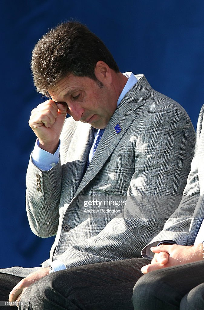 European Team captain Jose Maria Olazabal wipes away a tear during a tribute to Seve Ballesteros at the Opening Ceremony for the 39th Ryder Cup at Medinah Country Club on September 27, 2012 in Medinah, Illinois.