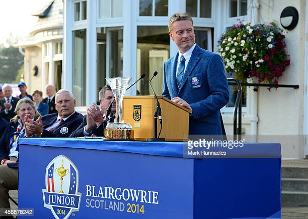 European Team Captain Stuart Wilson introduces his team during the Opening Ceremony of the 2014 Junior Ryder Cup at Blairgowrie Golf Club on...