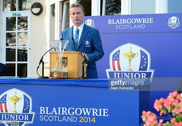 European Team Captain Stuart Wilson speaks during the Opening Ceremony of the 2014 Junior Ryder Cup at Blairgowrie Golf Club on September 21 2014 in...