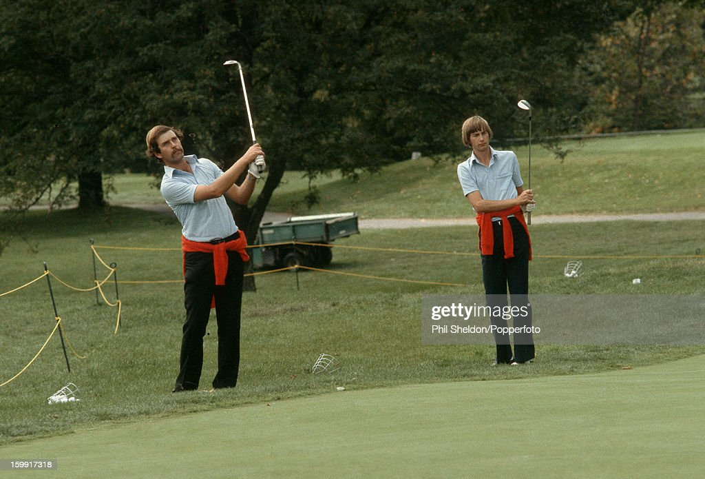 European team golfers Mark James and Ken Brown practicing prior to the Ryder Cup golf competition held at the Greenbrier Golf Club in White Sulphur...