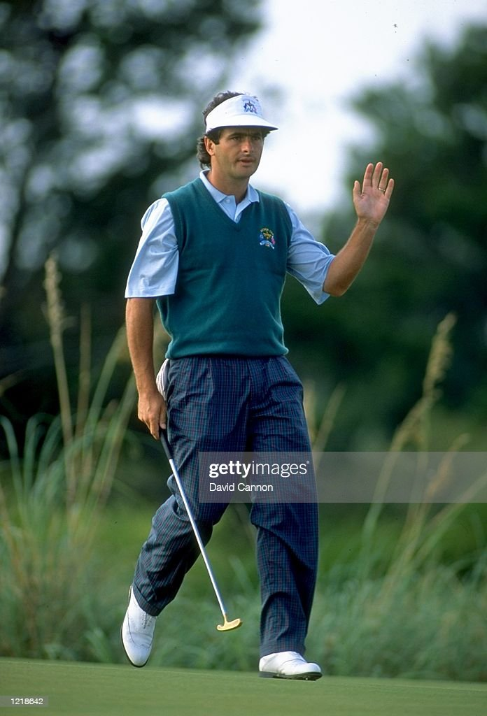 European team member David Feherty of Ireland holes out during the Ryder Cup at Kiawah Island in South Carolina USA The USA team won the event with a...