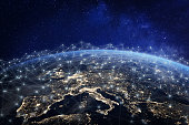 European telecommunication network connected over Europe, France, Germany, UK, Italy, concept about internet and global communication technology for finance, blockchain or IoT, elements from NASA (htt