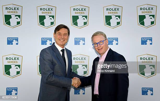 European Tour Chief Executive Keith Pelley announces the Rolex Series with Rolex Global Head of Sponsorship and Partnership Laurent Delanney prior to...