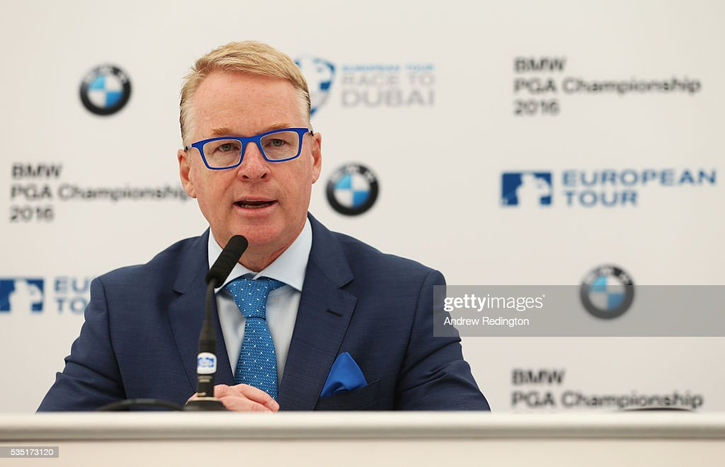 European Tour Chief Executive <a gi-track='captionPersonalityLinkClicked' href=/galleries/search?phrase=Keith+Pelley&family=editorial&specificpeople=8533833 ng-click='$event.stopPropagation()'>Keith Pelley</a> speaks at a press conference during day four of the BMW PGA Championship at Wentworth on May 29, 2016 in Virginia Water, England.