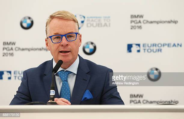 European Tour Chief Executive Keith Pelley speaks at a press conference during day four of the BMW PGA Championship at Wentworth on May 29 2016 in...