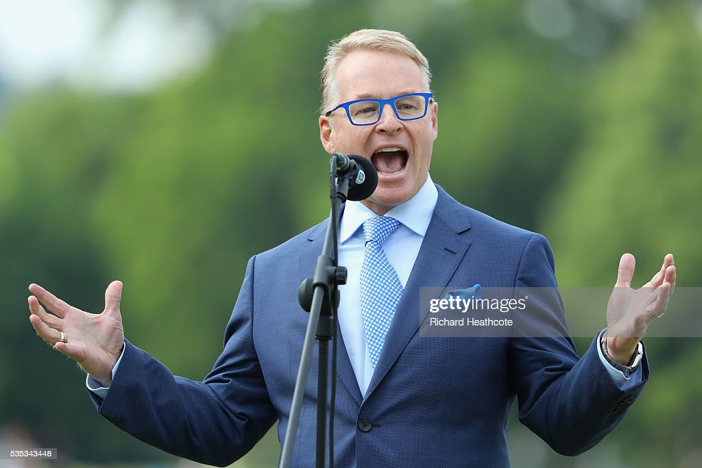 European Tour Chief Executive <a gi-track='captionPersonalityLinkClicked' href=/galleries/search?phrase=Keith+Pelley&family=editorial&specificpeople=8533833 ng-click='$event.stopPropagation()'>Keith Pelley</a> speaks on the 18th green during day four of the BMW PGA Championship at Wentworth on May 29, 2016 in Virginia Water, England.