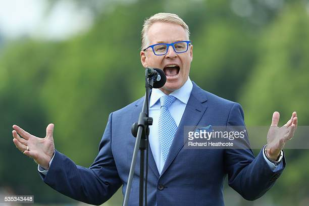 European Tour Chief Executive Keith Pelley speaks on the 18th green during day four of the BMW PGA Championship at Wentworth on May 29 2016 in...