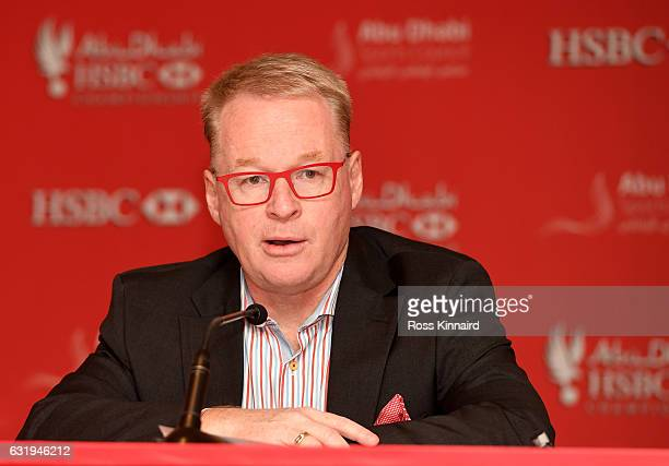 European Tour Chief Executive Keith Pelley talking to the media during the proam event prior to the Abu Dhabi HSBC Championship at Abu Dhabi Golf...