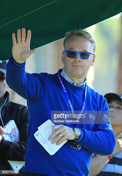 European Tour Chief Executive Keith Pelley waves on the 1st tee during day one of the Turkish Airlines Open at the Regnum Carya Golf Spa Resort on...