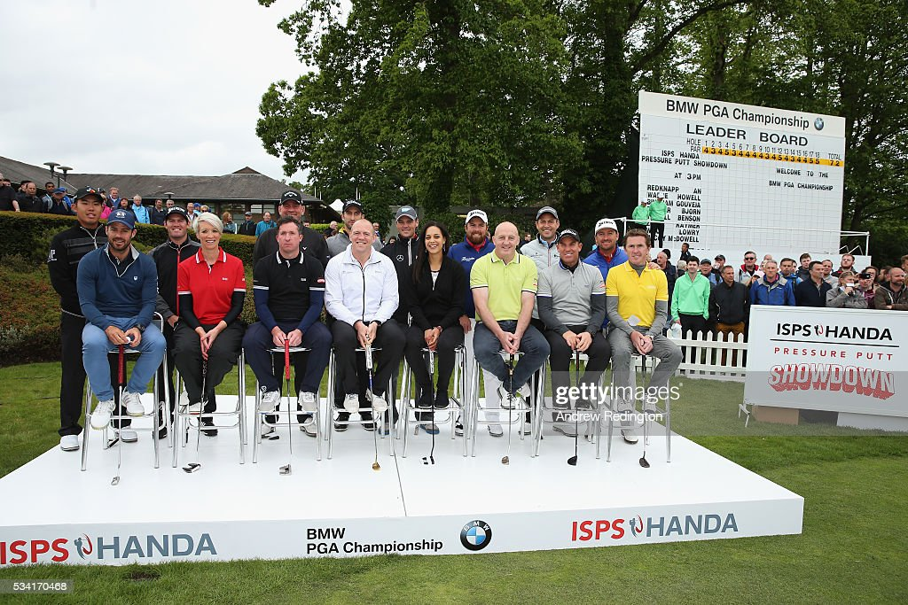 European Tour golfers and sports celebrities pose prior to the ISPS HANDA Pressure Putt Showdown ahead of the BMW PGA Championship at Wentworth on May 25, 2016 in Virginia Water, England.