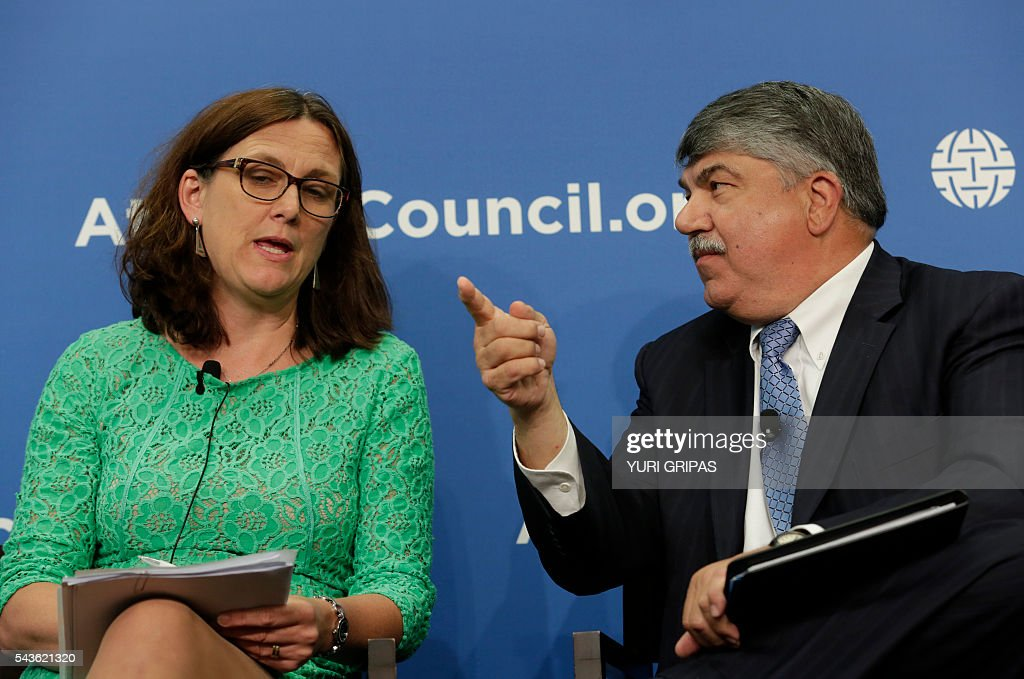 European Trade Commissioner Cecilia Malmstrom (L) answers AFL-CIO President Richard Trumka during The Atlantic Council discussion on 'European Growth and the Trans-Atlantic Trade and Investment Partnership' in Washington, DC on June 29, 2016. / AFP / YURI