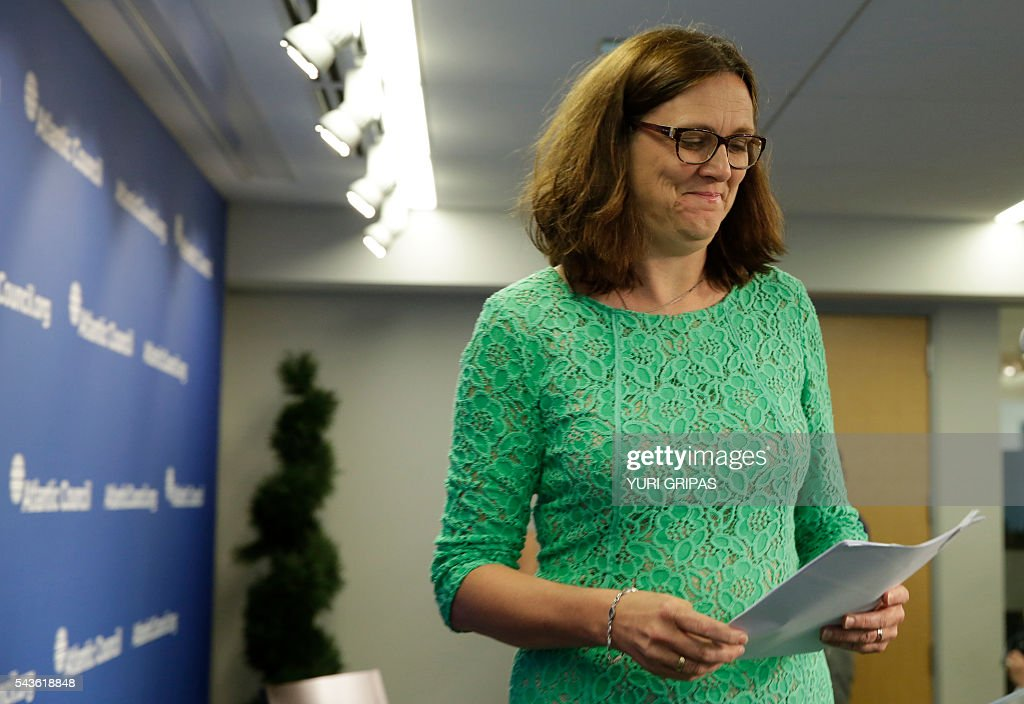 European Trade Commissioner Cecilia Malmstrom arrives at The Atlantic Council discussion on 'European Growth and the Trans-Atlantic Trade and Investment Partnership' in Washington, DC on June 29, 2016. / AFP / YURI