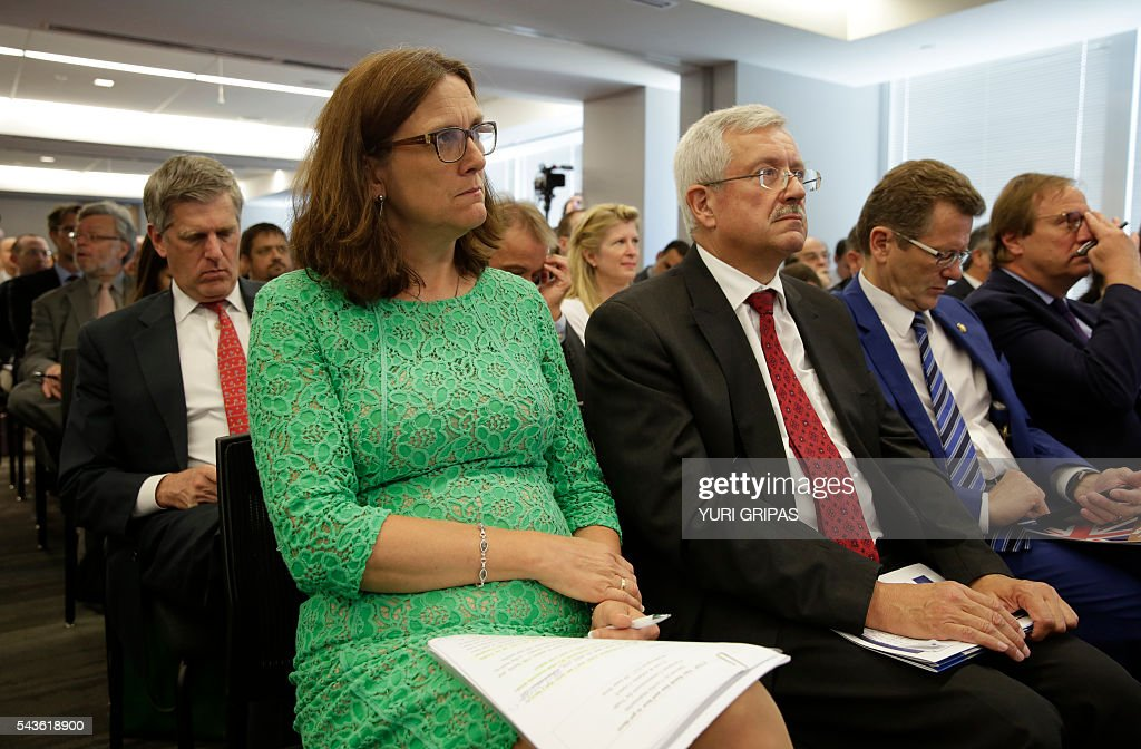 European Trade Commissioner Cecilia Malmstrom attends The Atlantic Council discussion on 'European Growth and the Trans-Atlantic Trade and Investment Partnership' in Washington, DC on June 29, 2016. / AFP / YURI
