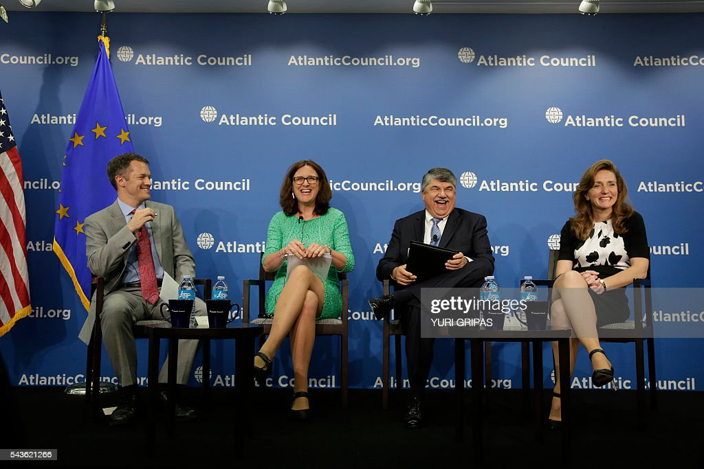 European Trade Commissioner Cecilia Malmstrom (2nd L) participates in The Atlantic Council discussion on 'European Growth and the Trans-Atlantic Trade and Investment Partnership' in Washington, DC on June 29, 2016. / AFP / YURI