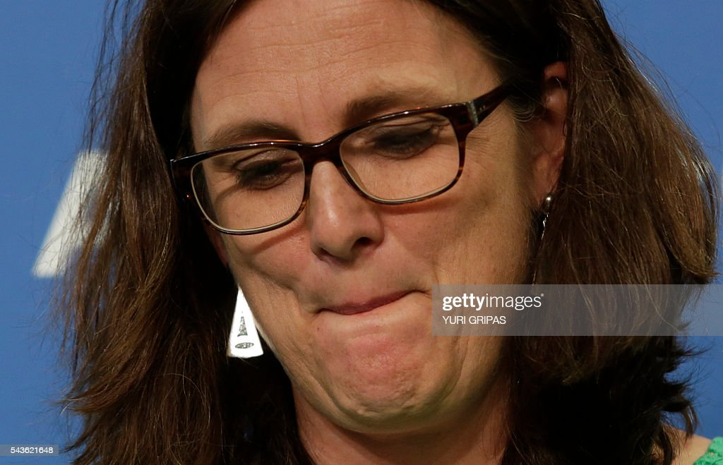 European Trade Commissioner Cecilia Malmstrom pauses as she speaks at The Atlantic Council discussion on 'European Growth and the Trans-Atlantic Trade and Investment Partnership' in Washington, DC on June 29, 2016. / AFP / YURI