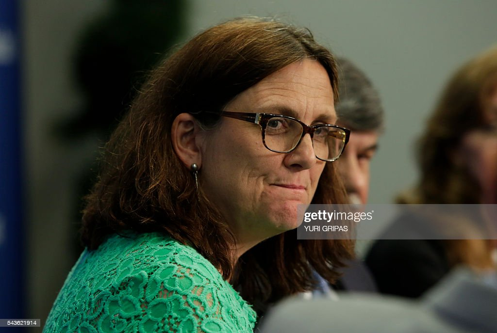 European Trade Commissioner Cecilia Malmstrom speaks at The Atlantic Council discussion on 'European Growth and the Trans-Atlantic Trade and Investment Partnership' in Washington, DC on June 29, 2016. / AFP / YURI