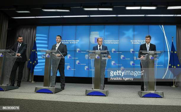 European Trade Union General Secretary Luca Visentini Estonian Prime Minister Juri Ratas European Council President Donald Tusk Vice President of the...