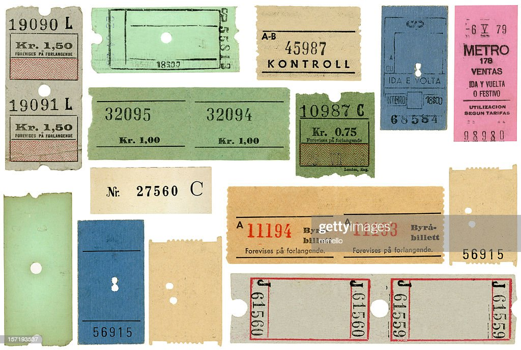 European Transportation Tickets Subway Train Blank : Stock Photo