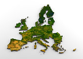 3D rendering of extruded high-resolution physical map (with relief) of the European Union before Brexit (including the United Kingdom), isolated on white background. Modeled and rendered with Houdini