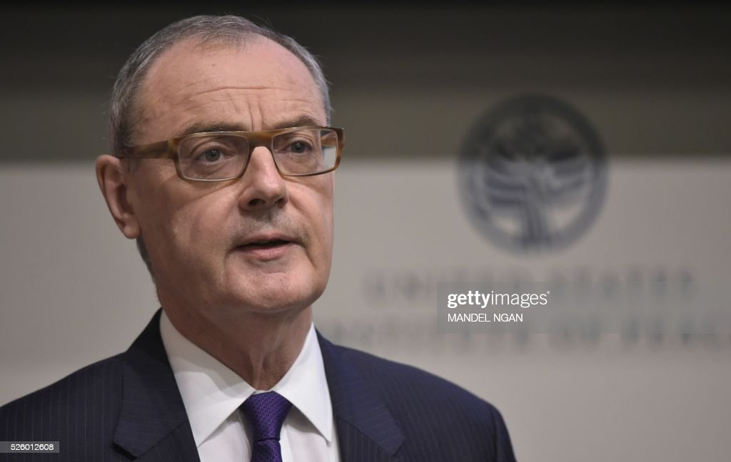 European Union Ambassador to the US, David O'Sullivan speaks during the fifth annual Symposium on the EU's Common Security & Defense Policy at the US Institute of Peace in Washington, DC on April 29, 2016. / AFP / Mandel Ngan