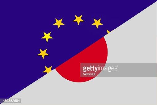 European union and Japanese flag