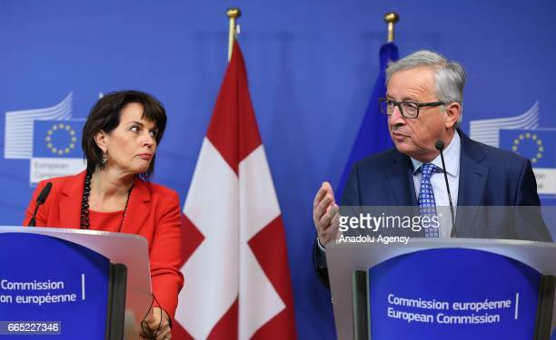 European Union Commission President Jean Claude Juncker attends a press conference with President of the Swiss Confederation Doris Leuthard after a...