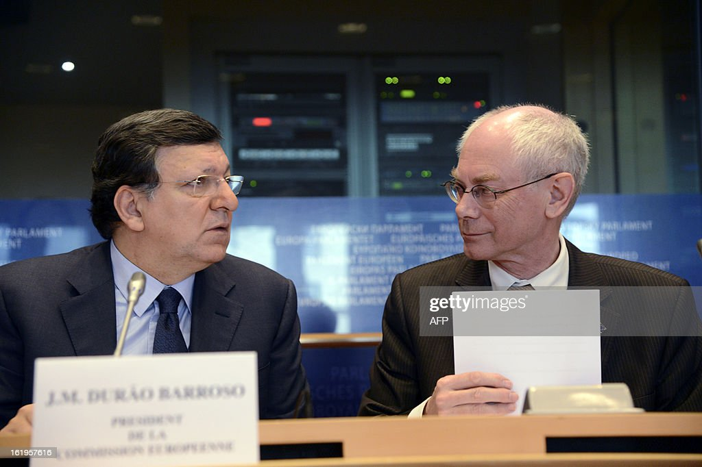 European Union Commission President Jose Manuel Barroso (L) and European Union Council President Herman Van Rompuy take part in the European Parliament debate over the EU budget at the European Parliament in Brussels, on February 18, 2013.