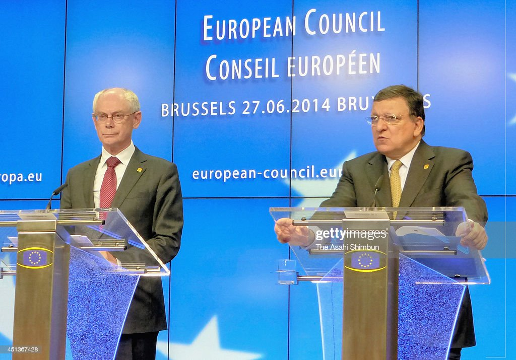 European Union Commission President Jose Manuel Barroso (R) and European Union Council President Herman van Rompuy (L) attend a press conference during the European Council summit on June 27, 2014 in Brussels, Belgium.