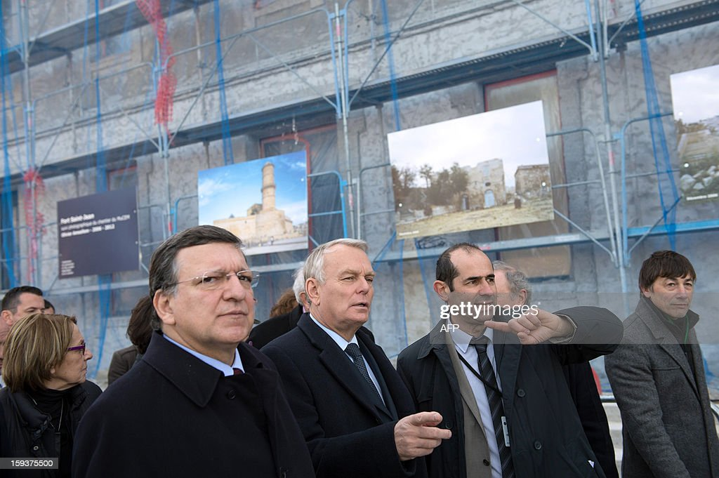 European Union (EU) Commission President Jose Manuel Barroso, and France's Prime Minister Jean-Marc Ayrault visit Saint-Jean fort work site as part of the opening festivities marking Marseille as the 2013 European Capital of Culture on January 12, 2013 in Marseille, southeastern France.