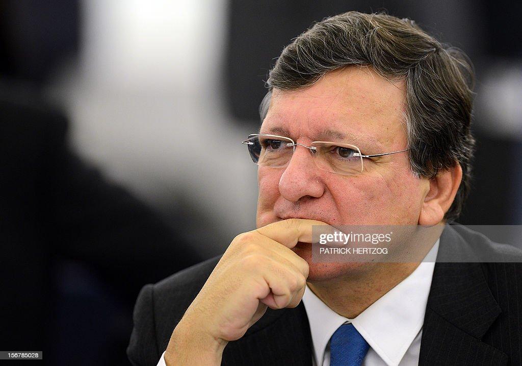 European Union Commission President Jose Manuel Barroso attends the European parliament plenary session, in Strasbourg, eastern France, on November 21, 2012.