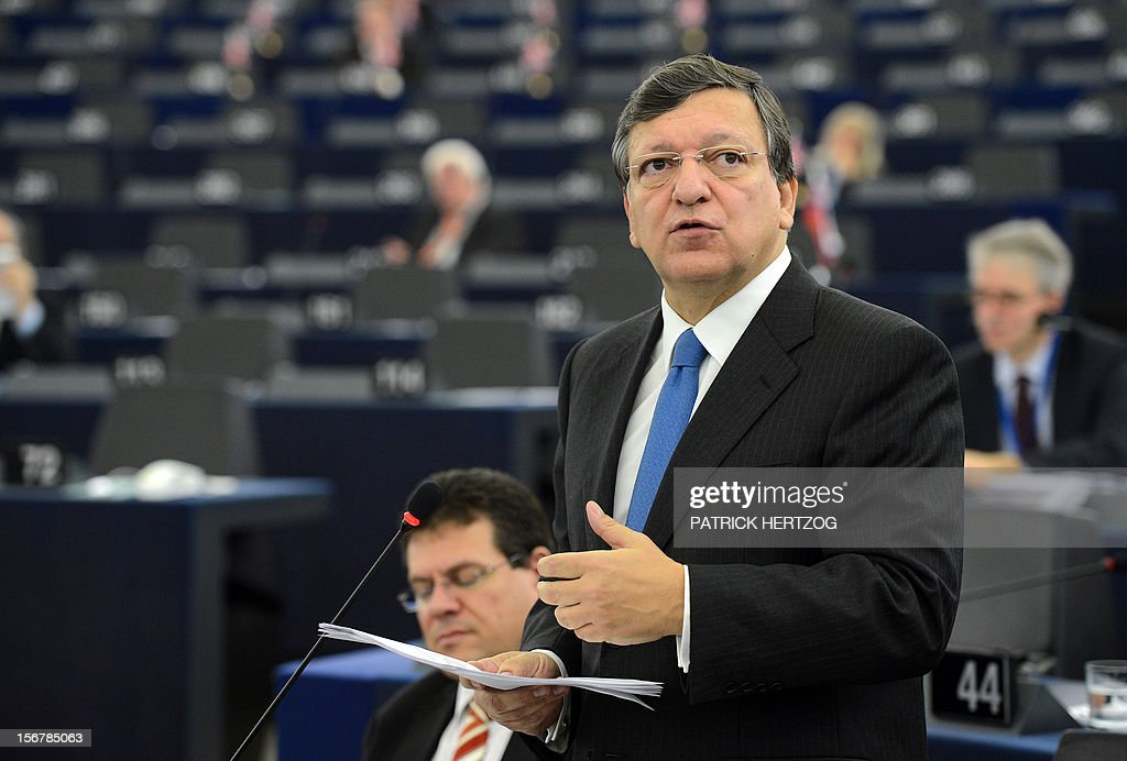 European Union Commission President Jose Manuel Barroso attends the European parliament plenary session, in Strasbourg, eastern France, on November 21, 2012. AFP PHOTO / PATRICK HERTZOG