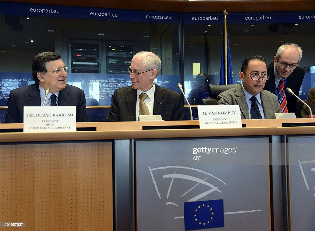 European Union Commission President Jose Manuel Barroso (L), European Union Council President Herman Van Rompuy (C) and European Parliament Vice-President Gianni Pittella (2ndR) take part in the European Parliament debate over the EU budget at the European Parliament in Brussels, on February 18, 2013.