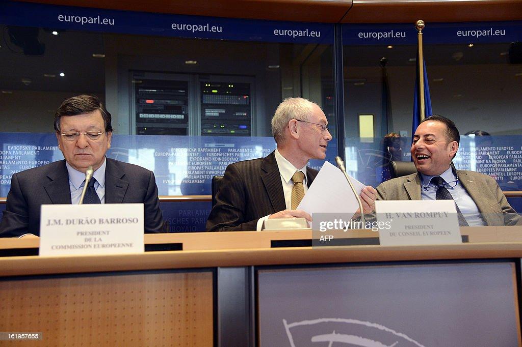 European Union Commission President Jose Manuel Barroso (L), European Union Council President Herman Van Rompuy (C) and European Parliament Vice-President Gianni Pittella (R) take part in the European Parliament debate over the EU budget at the European Parliament in Brussels, on February 18, 2013.