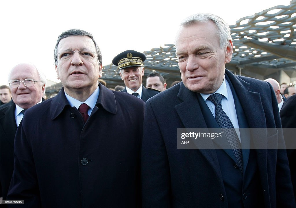 European Union (EU) Commission President Jose Manuel Barroso, France's Prime Minister Jean-Marc Ayrault visit the MuCem (Museum of Civilisations from Europe and the Mediterranean) as part of the opening festivities marking Marseille as the 2013 European Capital of Culture on January 12, 2013 in Marseille, southeastern France.