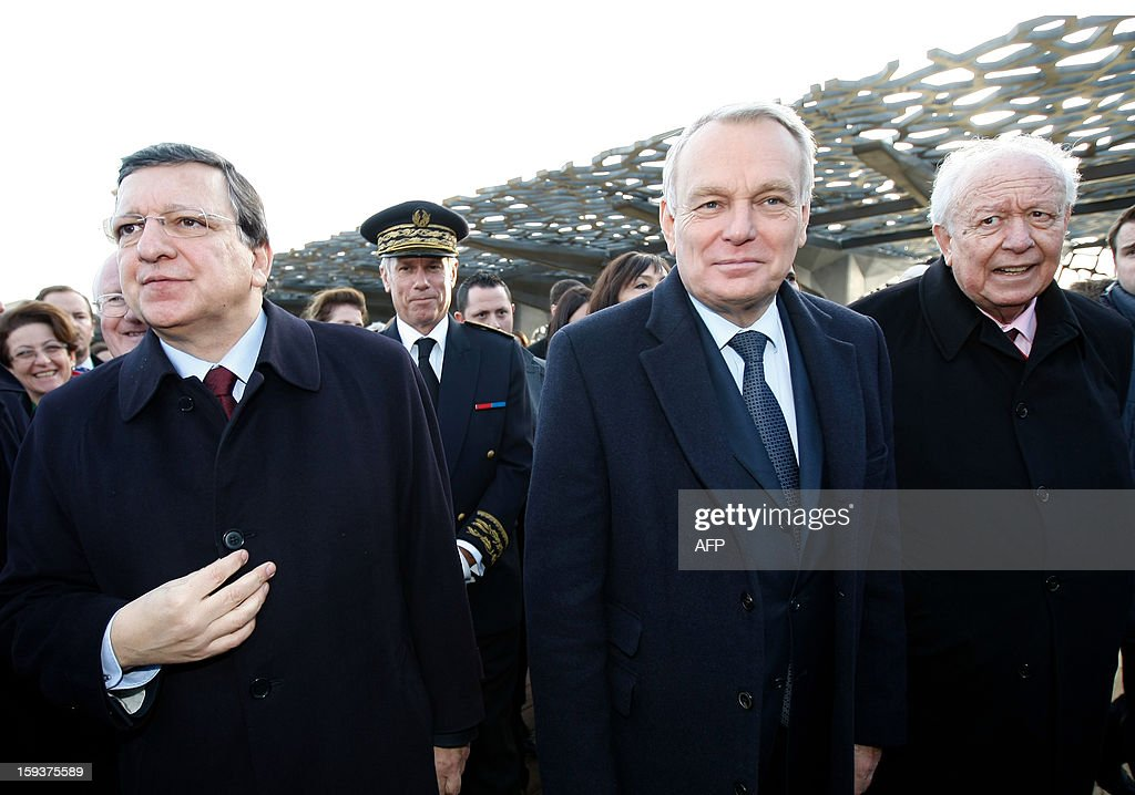European Union (EU) Commission President Jose Manuel Barroso, France's Prime Minister Jean-Marc Ayrault, Marseille's Mayor jean-Claude Guaudin visit the MuCem (Museum of Civilisations from Europe and the Mediterranean) as part of the opening festivities marking Marseille as the 2013 European Capital of Culture on January 12, 2013 in Marseille, southeastern France.