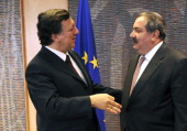 European Union Commission President Jose Manuel Barroso talks with Foreign Affairs Minister of Iraq Hoshyar Zebari prior to their meeting at the EU...