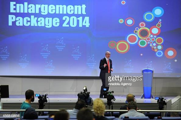 European Union Commissioner for Enlargement and Neighborhood Stefan Fule speaks during the press conference to announce the latest progress report on...